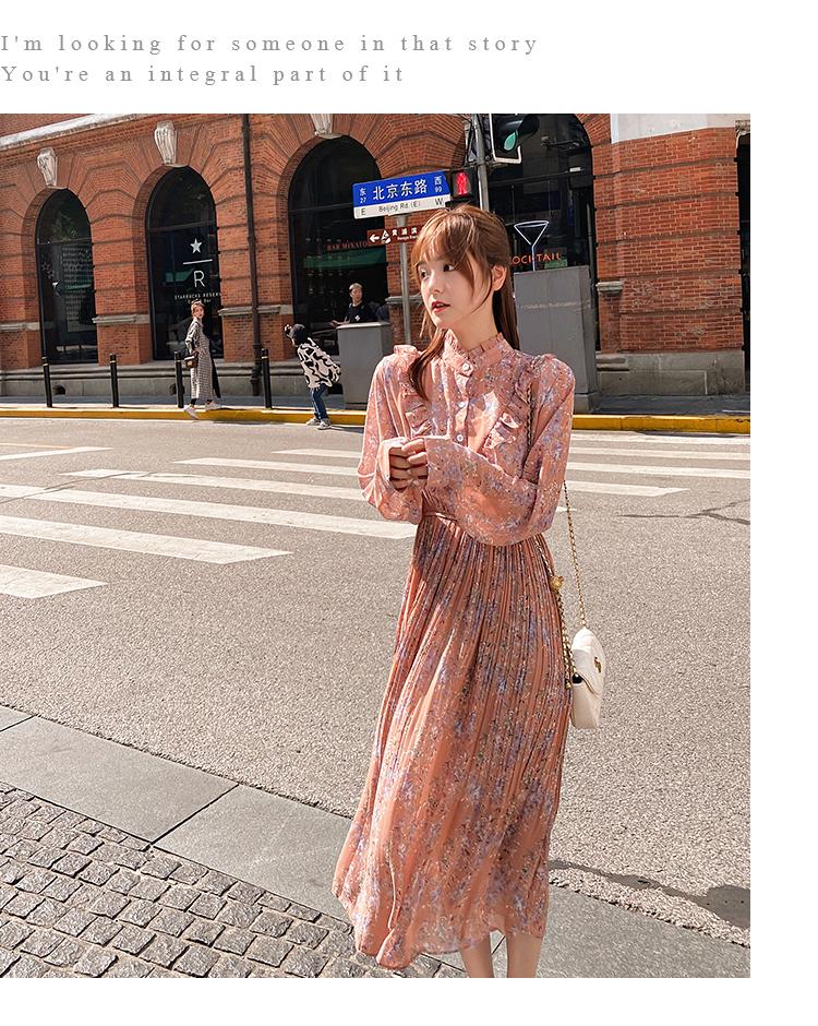 韓国 ファッション ワンピース 春 秋 冬 カジュアル PTXI944  シアー プリーツ フリル スタンドカラー オルチャン シンプル 定番 セレカジの写真16枚目