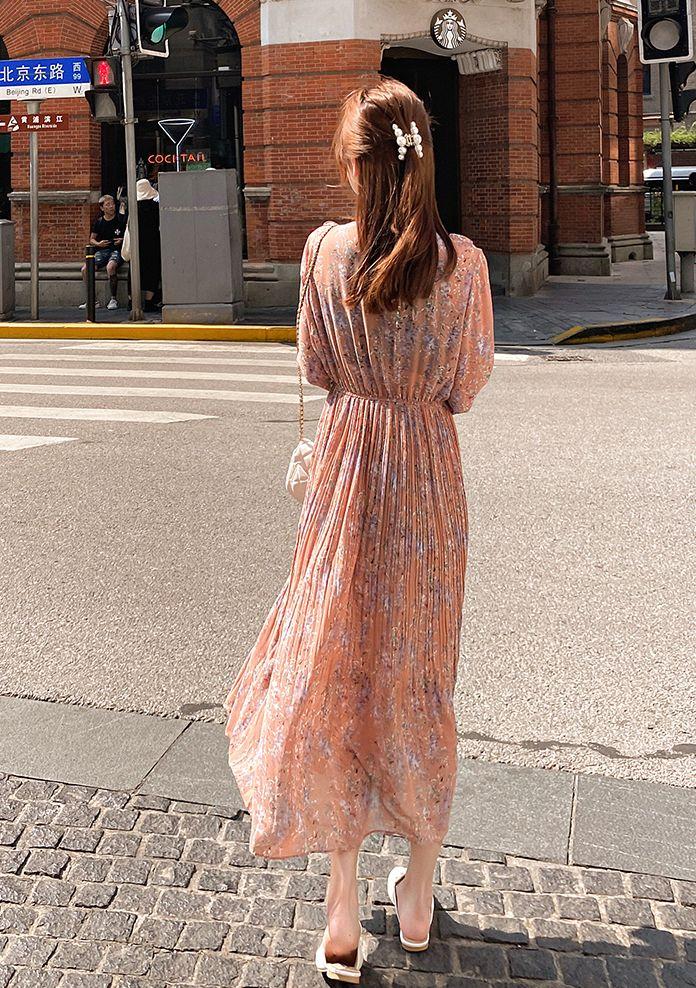 韓国 ファッション ワンピース 春 秋 冬 カジュアル PTXI944  シアー プリーツ フリル スタンドカラー オルチャン シンプル 定番 セレカジの写真19枚目