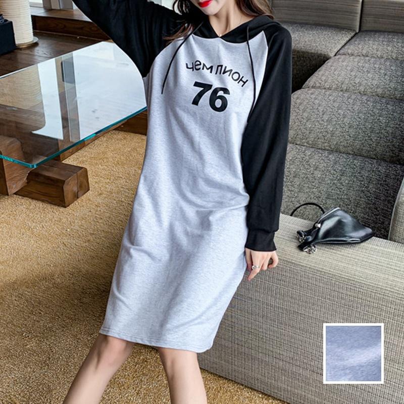 韓国 ファッション ワンピース 春 秋 冬 カジュアル PTXI948  バイカラー ラグランスリーブ フーディ ロゴ オルチャン シンプル 定番 セレカジの写真1枚目