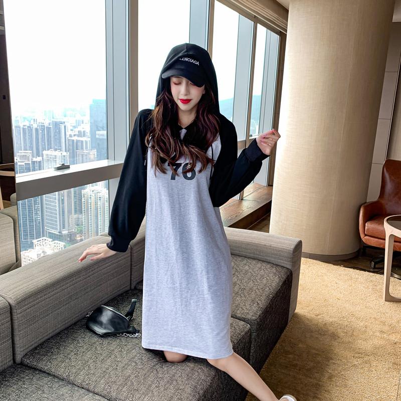 韓国 ファッション ワンピース 春 秋 冬 カジュアル PTXI948  バイカラー ラグランスリーブ フーディ ロゴ オルチャン シンプル 定番 セレカジの写真2枚目