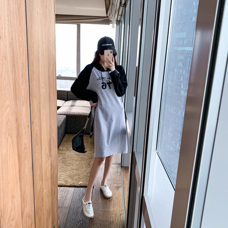韓国 ファッション ワンピース 春 秋 冬 カジュアル PTXI948  バイカラー ラグランスリーブ フーディ ロゴ オルチャン シンプル 定番 セレカジの写真3枚目