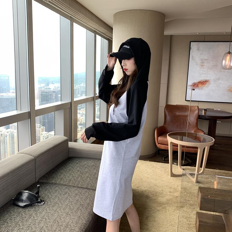 韓国 ファッション ワンピース 春 秋 冬 カジュアル PTXI948  バイカラー ラグランスリーブ フーディ ロゴ オルチャン シンプル 定番 セレカジの写真17枚目