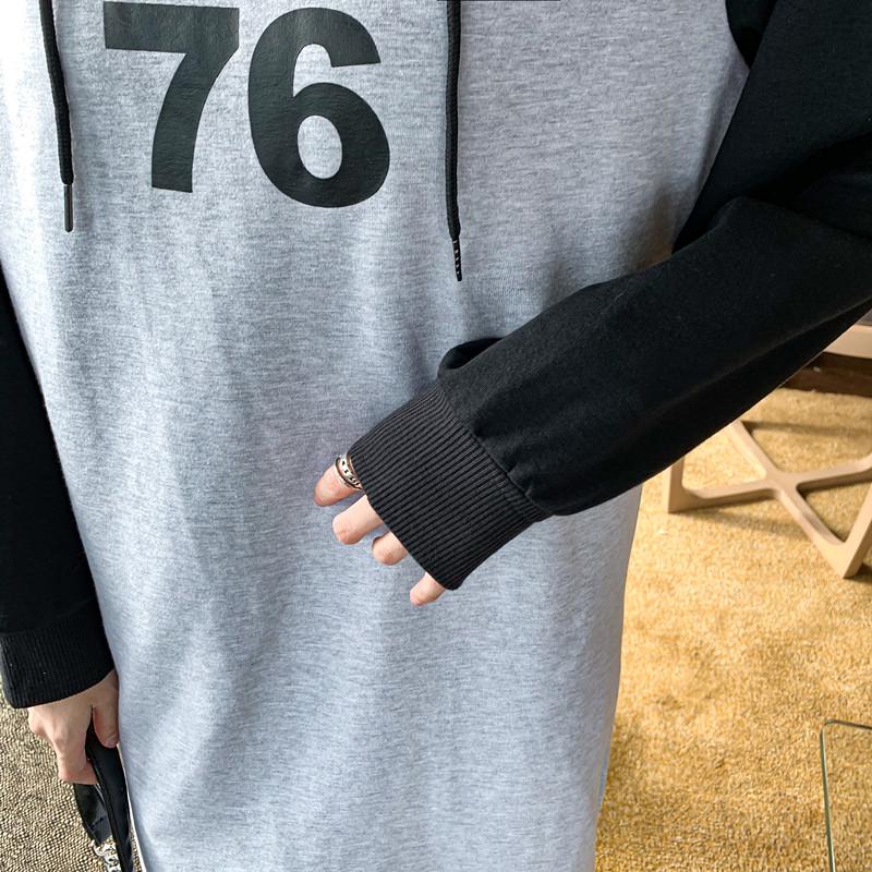 韓国 ファッション ワンピース 春 秋 冬 カジュアル PTXI948  バイカラー ラグランスリーブ フーディ ロゴ オルチャン シンプル 定番 セレカジの写真19枚目