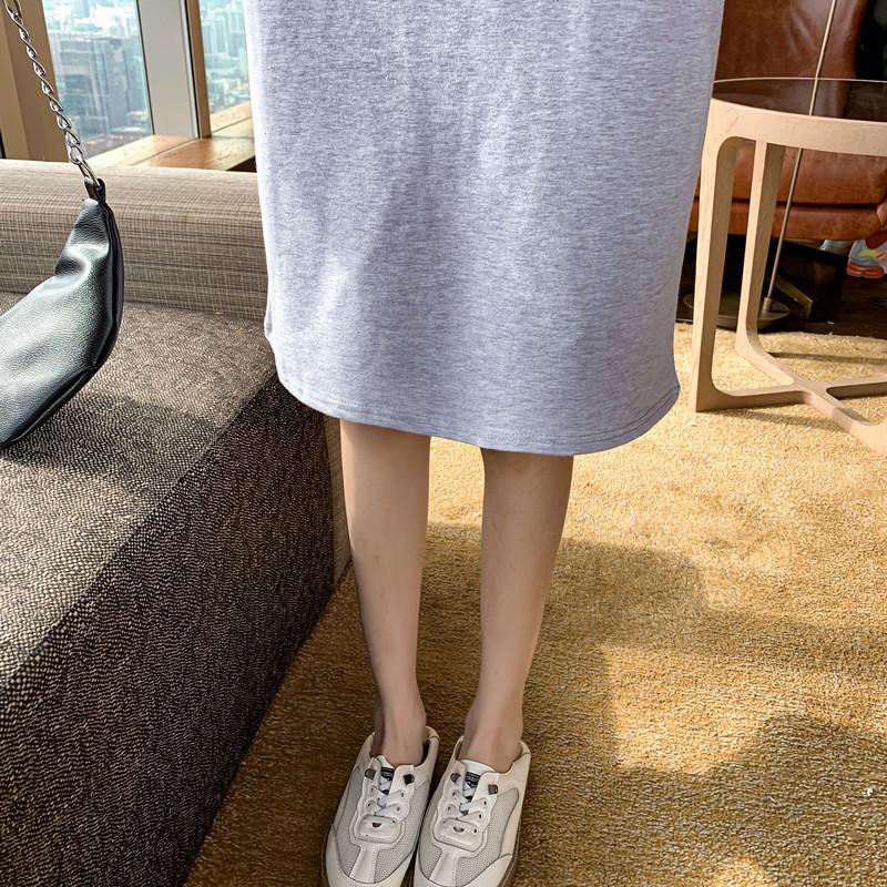 韓国 ファッション ワンピース 春 秋 冬 カジュアル PTXI948  バイカラー ラグランスリーブ フーディ ロゴ オルチャン シンプル 定番 セレカジの写真20枚目