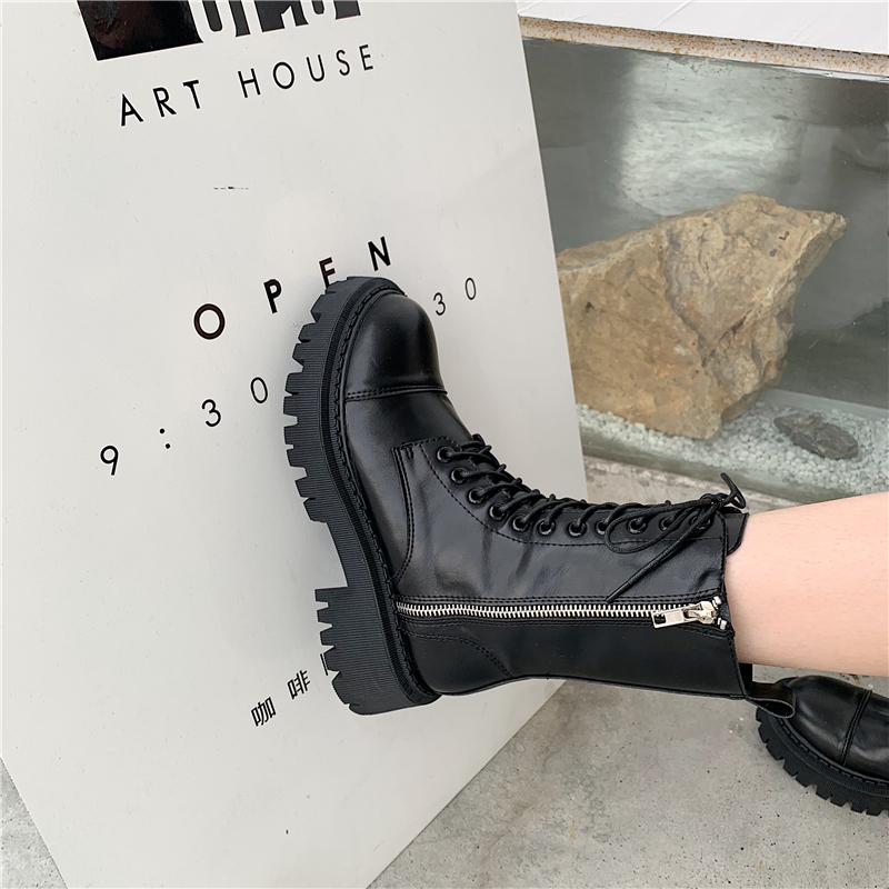 韓国 ファッション ミドルブーツ 春 夏 秋 冬 カジュアル PTXJ121  ミリタリー調 ワークブーツ レースアップブーツ オルチャン シンプル 定番 セレカジの写真3枚目
