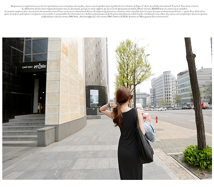 韓国 ファッション ワンピース 春 夏 秋 カジュアル PTXJ141  Uネック ノースリーブ インナー レイヤード オルチャン シンプル 定番 セレカジの写真9枚目