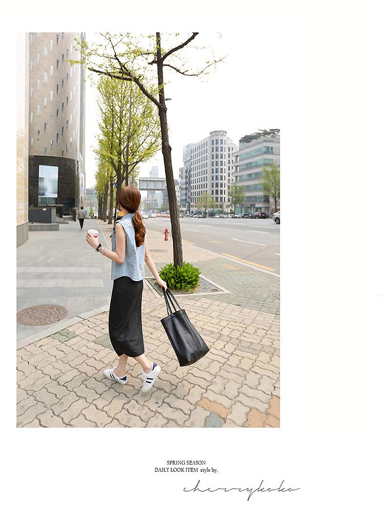 韓国 ファッション ワンピース 春 夏 秋 カジュアル PTXJ141  Uネック ノースリーブ インナー レイヤード オルチャン シンプル 定番 セレカジの写真11枚目