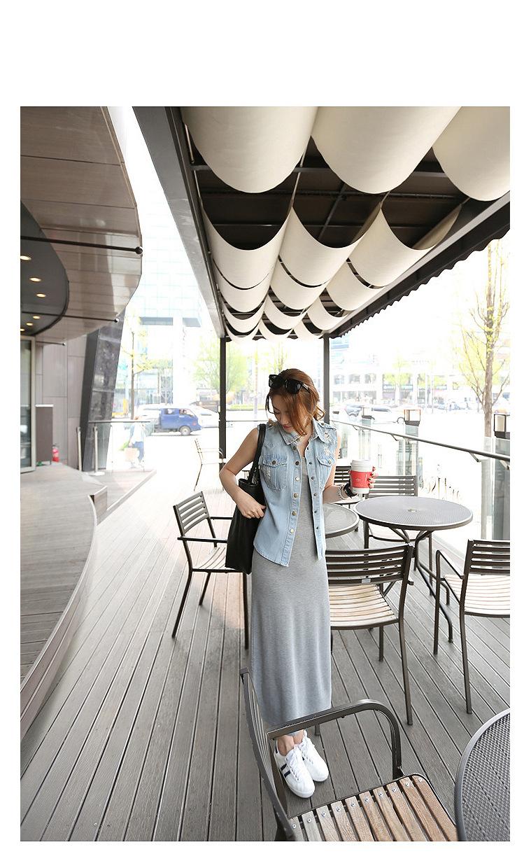 韓国 ファッション ワンピース 春 夏 秋 カジュアル PTXJ141  Uネック ノースリーブ インナー レイヤード オルチャン シンプル 定番 セレカジの写真13枚目