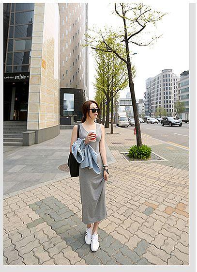 韓国 ファッション ワンピース 春 夏 秋 カジュアル PTXJ141  Uネック ノースリーブ インナー レイヤード オルチャン シンプル 定番 セレカジの写真14枚目