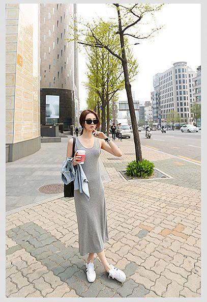 韓国 ファッション ワンピース 春 夏 秋 カジュアル PTXJ141  Uネック ノースリーブ インナー レイヤード オルチャン シンプル 定番 セレカジの写真15枚目