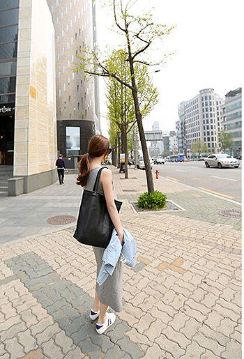 韓国 ファッション ワンピース 春 夏 秋 カジュアル PTXJ141  Uネック ノースリーブ インナー レイヤード オルチャン シンプル 定番 セレカジの写真16枚目