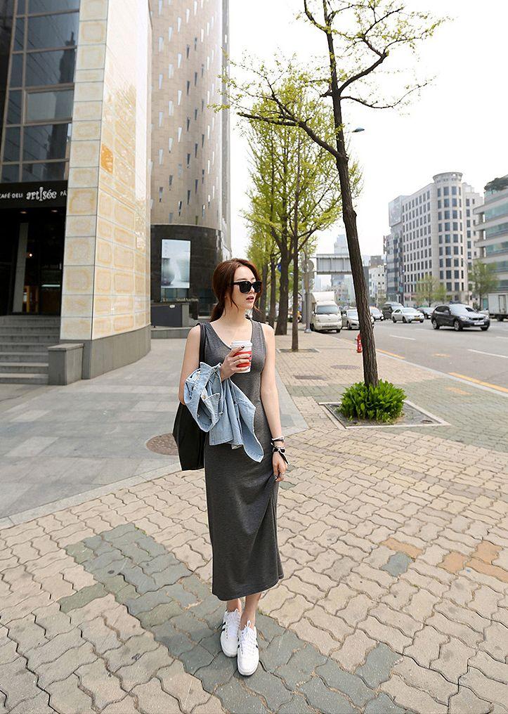 韓国 ファッション ワンピース 春 夏 秋 カジュアル PTXJ141  Uネック ノースリーブ インナー レイヤード オルチャン シンプル 定番 セレカジの写真17枚目