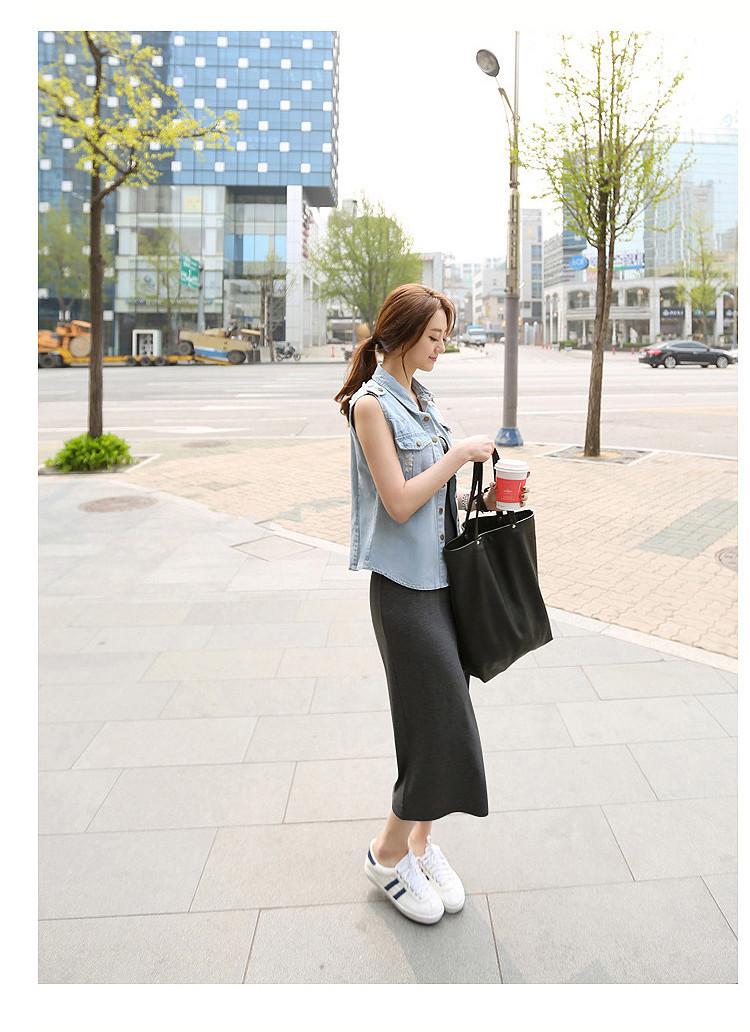 韓国 ファッション ワンピース 春 夏 秋 カジュアル PTXJ141  Uネック ノースリーブ インナー レイヤード オルチャン シンプル 定番 セレカジの写真18枚目