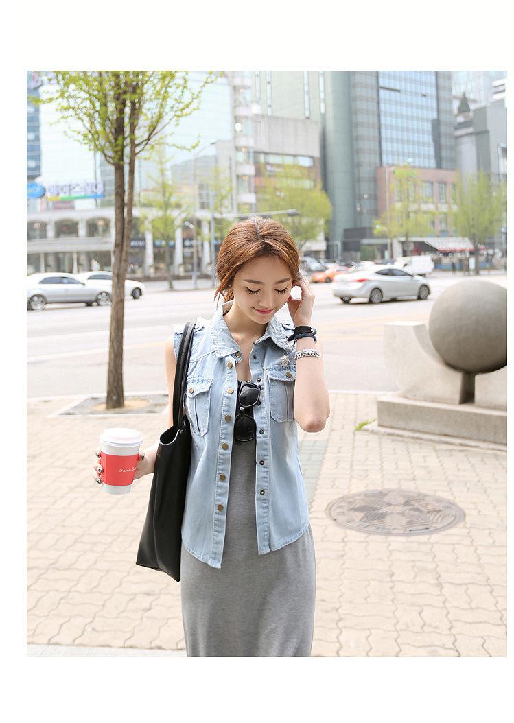 韓国 ファッション ワンピース 春 夏 秋 カジュアル PTXJ141  Uネック ノースリーブ インナー レイヤード オルチャン シンプル 定番 セレカジの写真19枚目