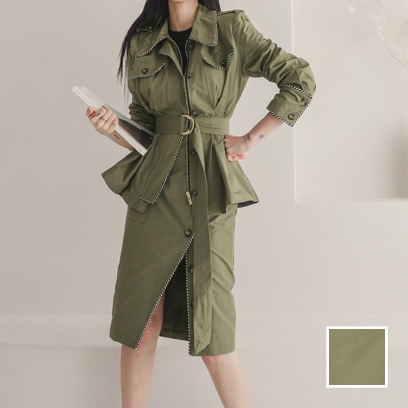 韓国 ファッション セットアップ 春 秋 冬 カジュアル PTXJ168  ミリタリー アシンメトリー シャツジャケット オルチャン シンプル 定番 セレカジの写真1枚目