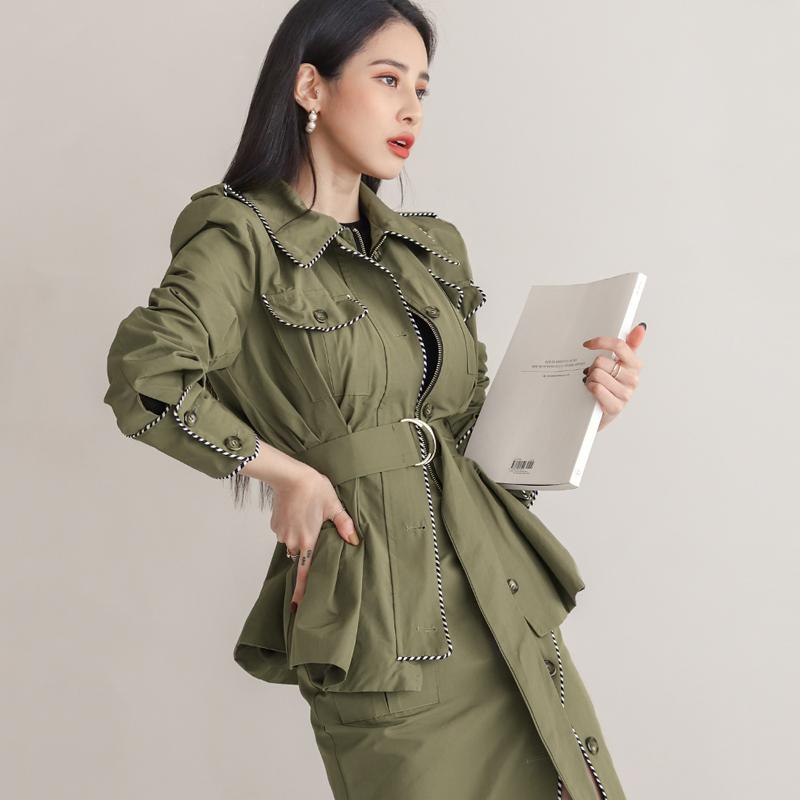 韓国 ファッション セットアップ 春 秋 冬 カジュアル PTXJ168  ミリタリー アシンメトリー シャツジャケット オルチャン シンプル 定番 セレカジの写真2枚目
