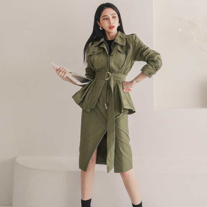 韓国 ファッション セットアップ 春 秋 冬 カジュアル PTXJ168  ミリタリー アシンメトリー シャツジャケット オルチャン シンプル 定番 セレカジの写真3枚目