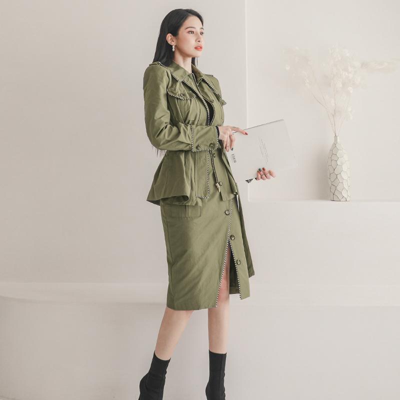 韓国 ファッション セットアップ 春 秋 冬 カジュアル PTXJ168  ミリタリー アシンメトリー シャツジャケット オルチャン シンプル 定番 セレカジの写真4枚目