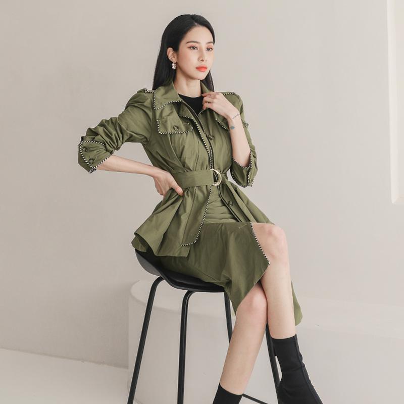 韓国 ファッション セットアップ 春 秋 冬 カジュアル PTXJ168  ミリタリー アシンメトリー シャツジャケット オルチャン シンプル 定番 セレカジの写真6枚目