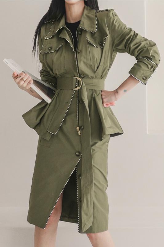 韓国 ファッション セットアップ 春 秋 冬 カジュアル PTXJ168  ミリタリー アシンメトリー シャツジャケット オルチャン シンプル 定番 セレカジの写真7枚目
