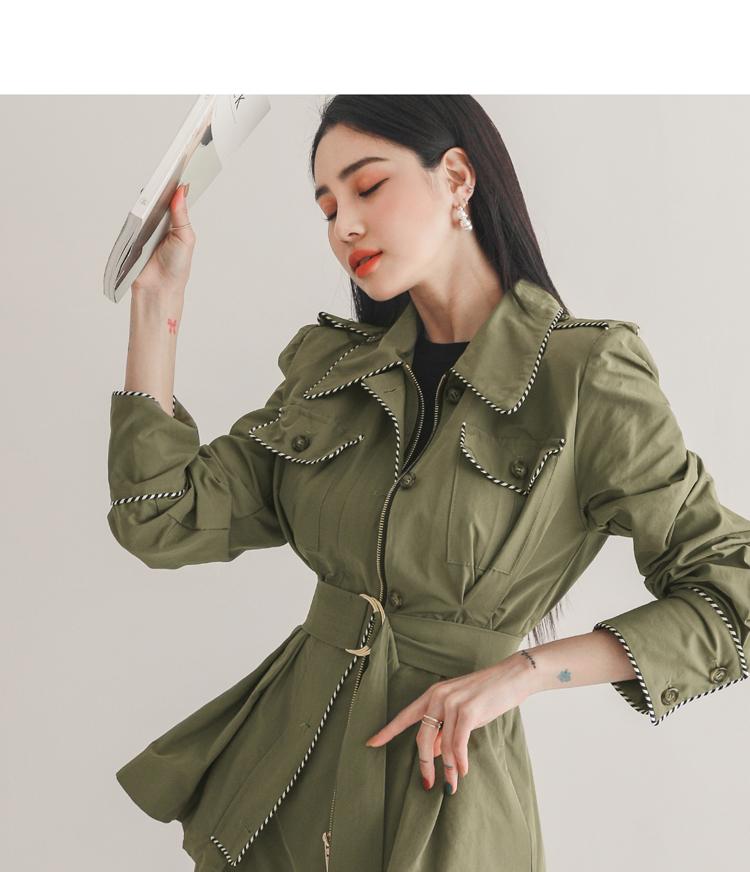 韓国 ファッション セットアップ 春 秋 冬 カジュアル PTXJ168  ミリタリー アシンメトリー シャツジャケット オルチャン シンプル 定番 セレカジの写真8枚目
