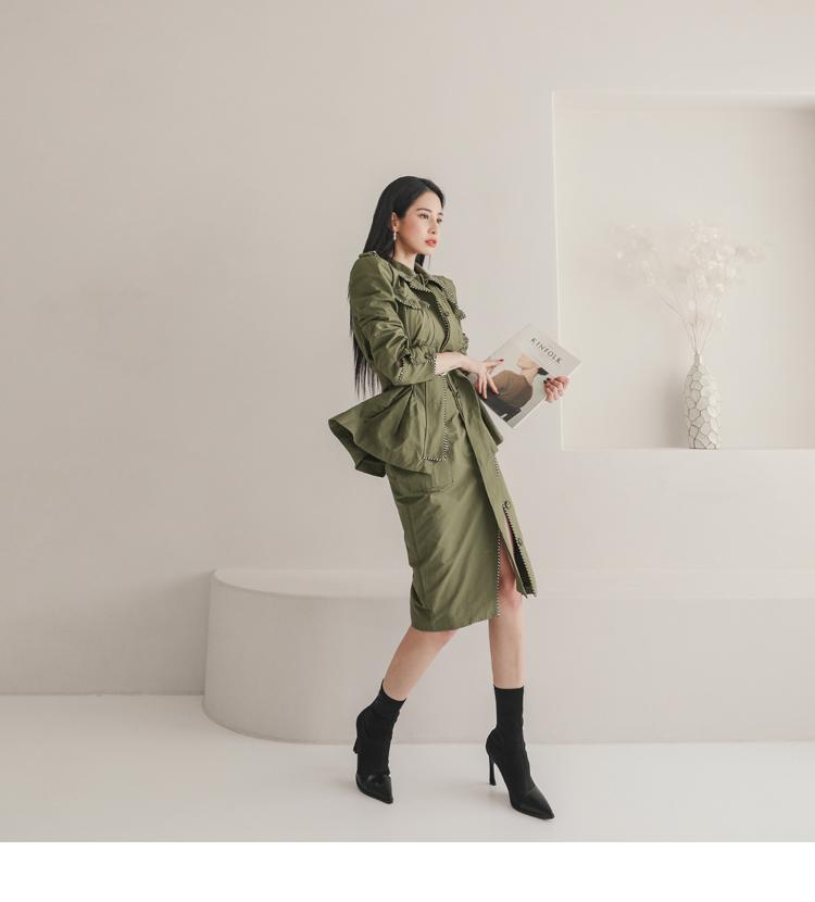韓国 ファッション セットアップ 春 秋 冬 カジュアル PTXJ168  ミリタリー アシンメトリー シャツジャケット オルチャン シンプル 定番 セレカジの写真9枚目