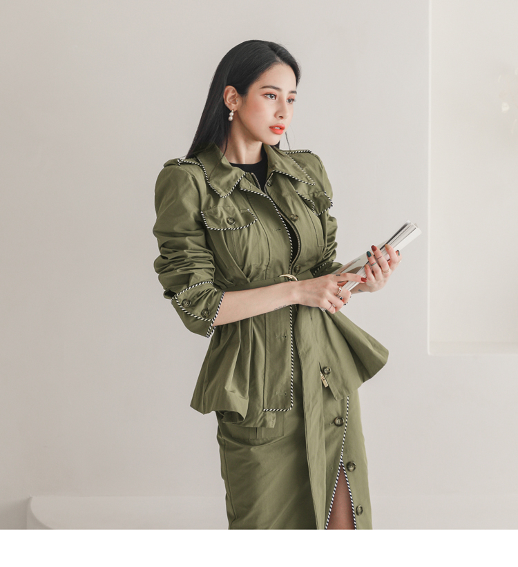 韓国 ファッション セットアップ 春 秋 冬 カジュアル PTXJ168  ミリタリー アシンメトリー シャツジャケット オルチャン シンプル 定番 セレカジの写真12枚目