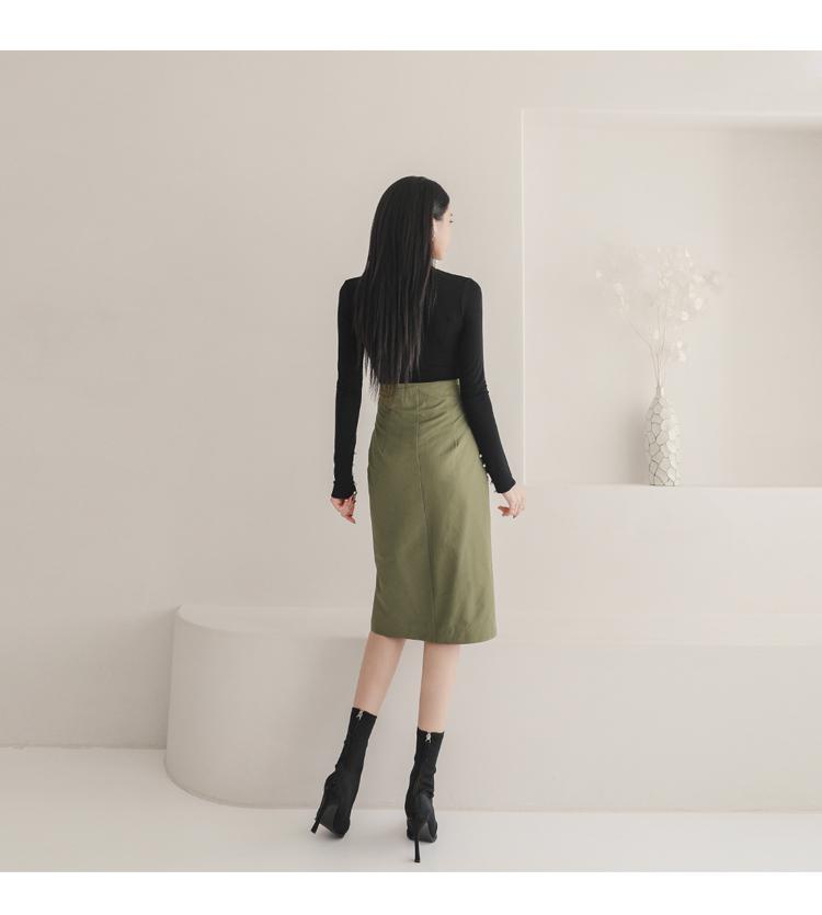 韓国 ファッション セットアップ 春 秋 冬 カジュアル PTXJ168  ミリタリー アシンメトリー シャツジャケット オルチャン シンプル 定番 セレカジの写真13枚目