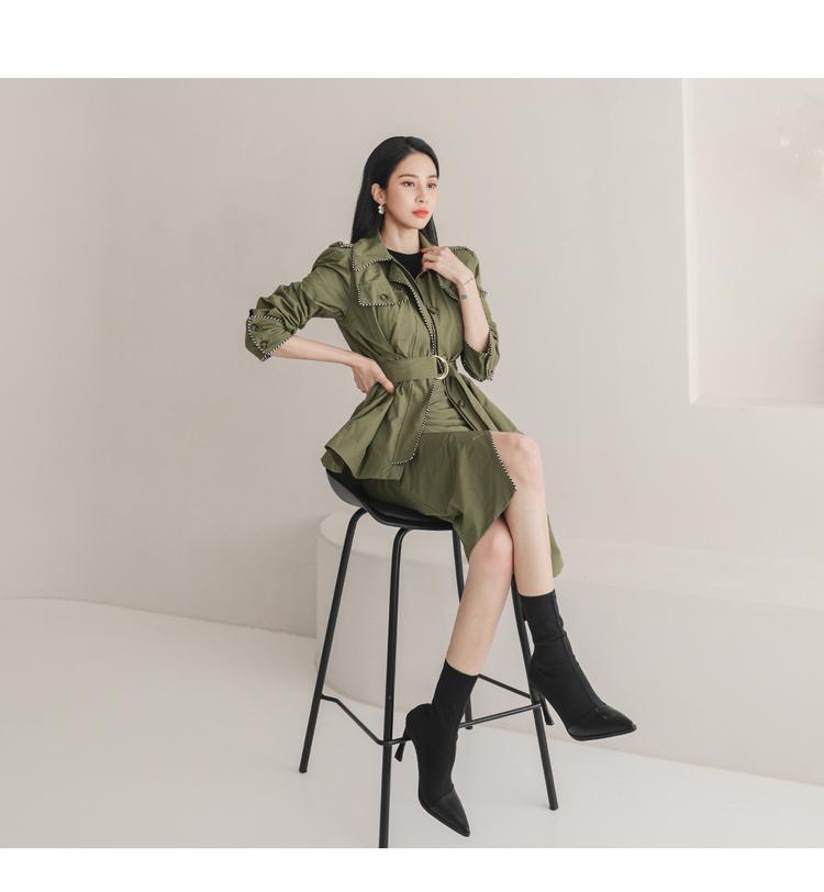韓国 ファッション セットアップ 春 秋 冬 カジュアル PTXJ168  ミリタリー アシンメトリー シャツジャケット オルチャン シンプル 定番 セレカジの写真16枚目