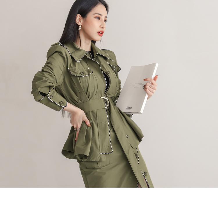 韓国 ファッション セットアップ 春 秋 冬 カジュアル PTXJ168  ミリタリー アシンメトリー シャツジャケット オルチャン シンプル 定番 セレカジの写真18枚目