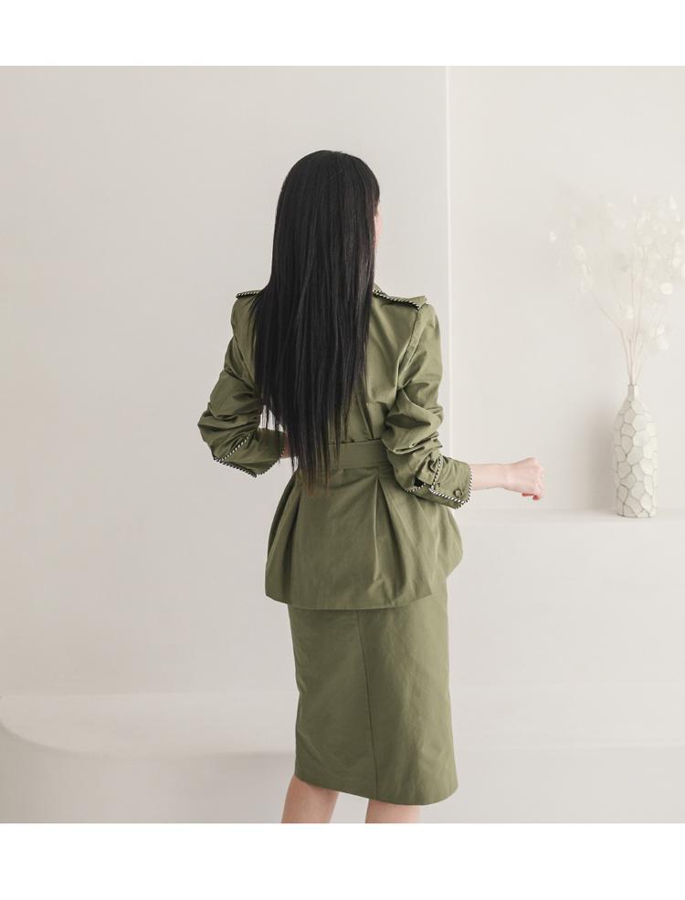韓国 ファッション セットアップ 春 秋 冬 カジュアル PTXJ168  ミリタリー アシンメトリー シャツジャケット オルチャン シンプル 定番 セレカジの写真19枚目