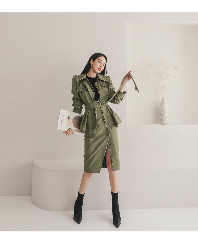 韓国 ファッション セットアップ 春 秋 冬 カジュアル PTXJ168  ミリタリー アシンメトリー シャツジャケット オルチャン シンプル 定番 セレカジの写真20枚目