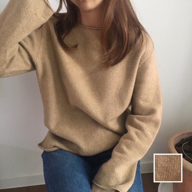 韓国 ファッション トップス ニット セーター 春 秋 冬 カジュアル PTXJ197  リブニット 切りっぱなし ナチュラルテイスト オルチャン シンプル 定番 セレカジの写真1枚目