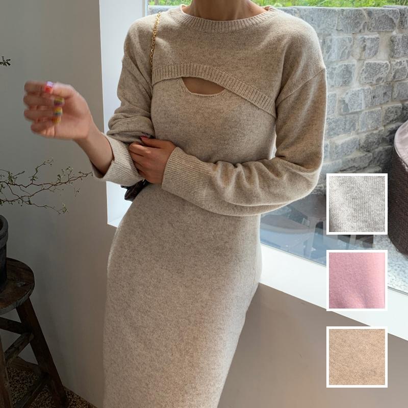韓国 ファッション ワンピース 春 秋 冬 カジュアル PTXJ201  リブニット ノースリーブ 2点セット セクシー オルチャン シンプル 定番 セレカジの写真1枚目
