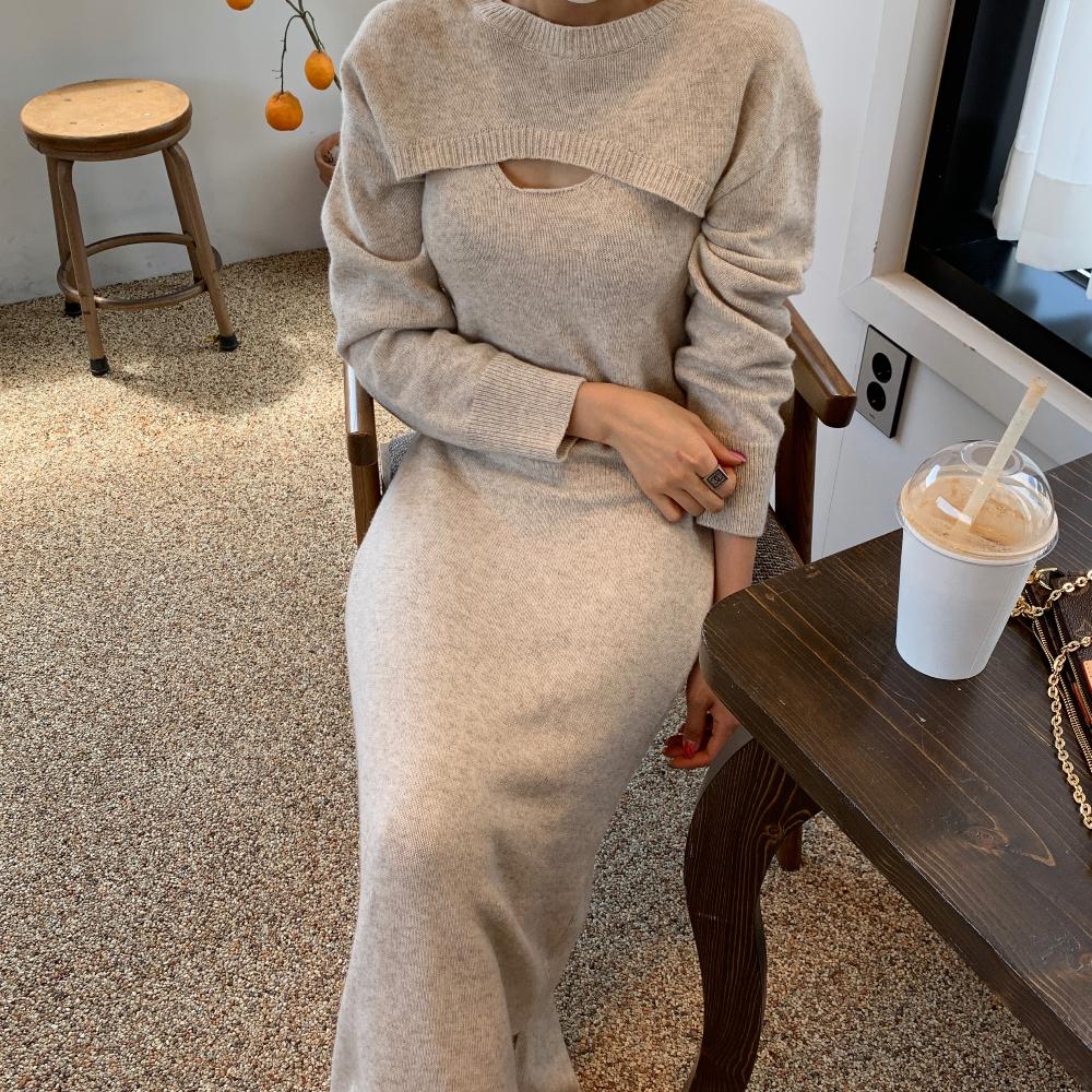 韓国 ファッション ワンピース 春 秋 冬 カジュアル PTXJ201  リブニット ノースリーブ 2点セット セクシー オルチャン シンプル 定番 セレカジの写真3枚目
