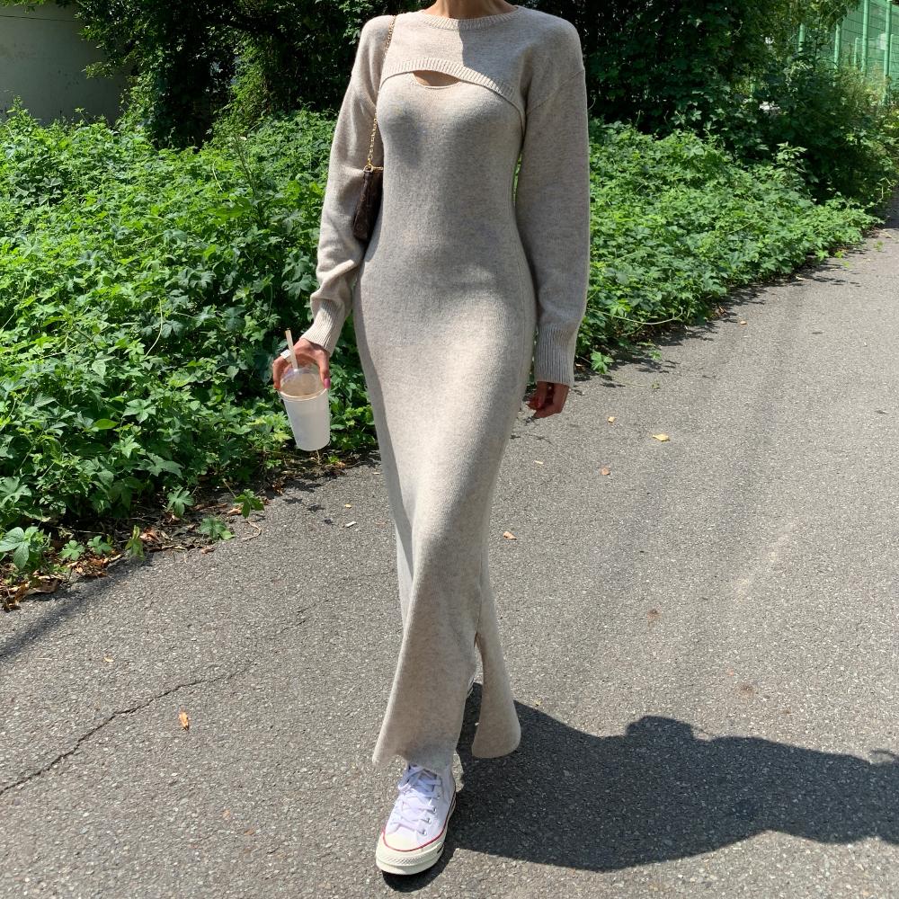 韓国 ファッション ワンピース 春 秋 冬 カジュアル PTXJ201  リブニット ノースリーブ 2点セット セクシー オルチャン シンプル 定番 セレカジの写真5枚目