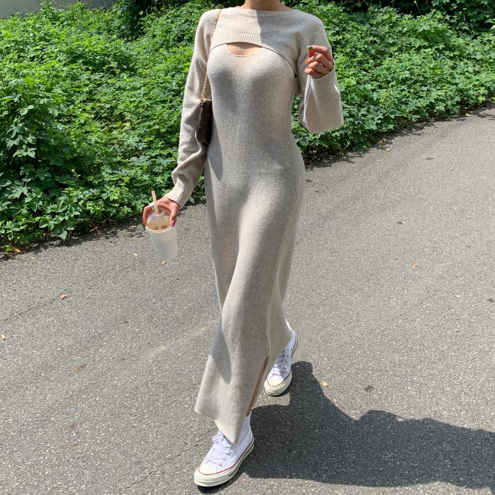 韓国 ファッション ワンピース 春 秋 冬 カジュアル PTXJ201  リブニット ノースリーブ 2点セット セクシー オルチャン シンプル 定番 セレカジの写真6枚目