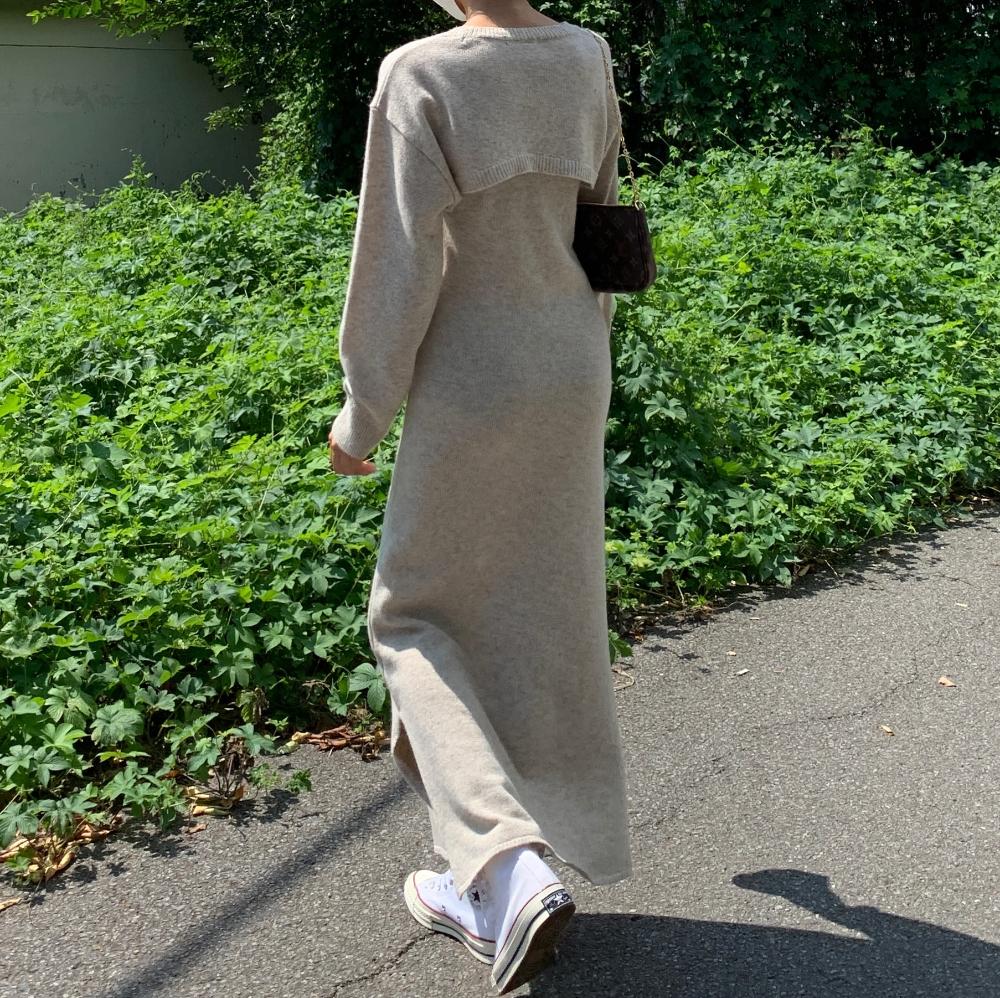 韓国 ファッション ワンピース 春 秋 冬 カジュアル PTXJ201  リブニット ノースリーブ 2点セット セクシー オルチャン シンプル 定番 セレカジの写真8枚目