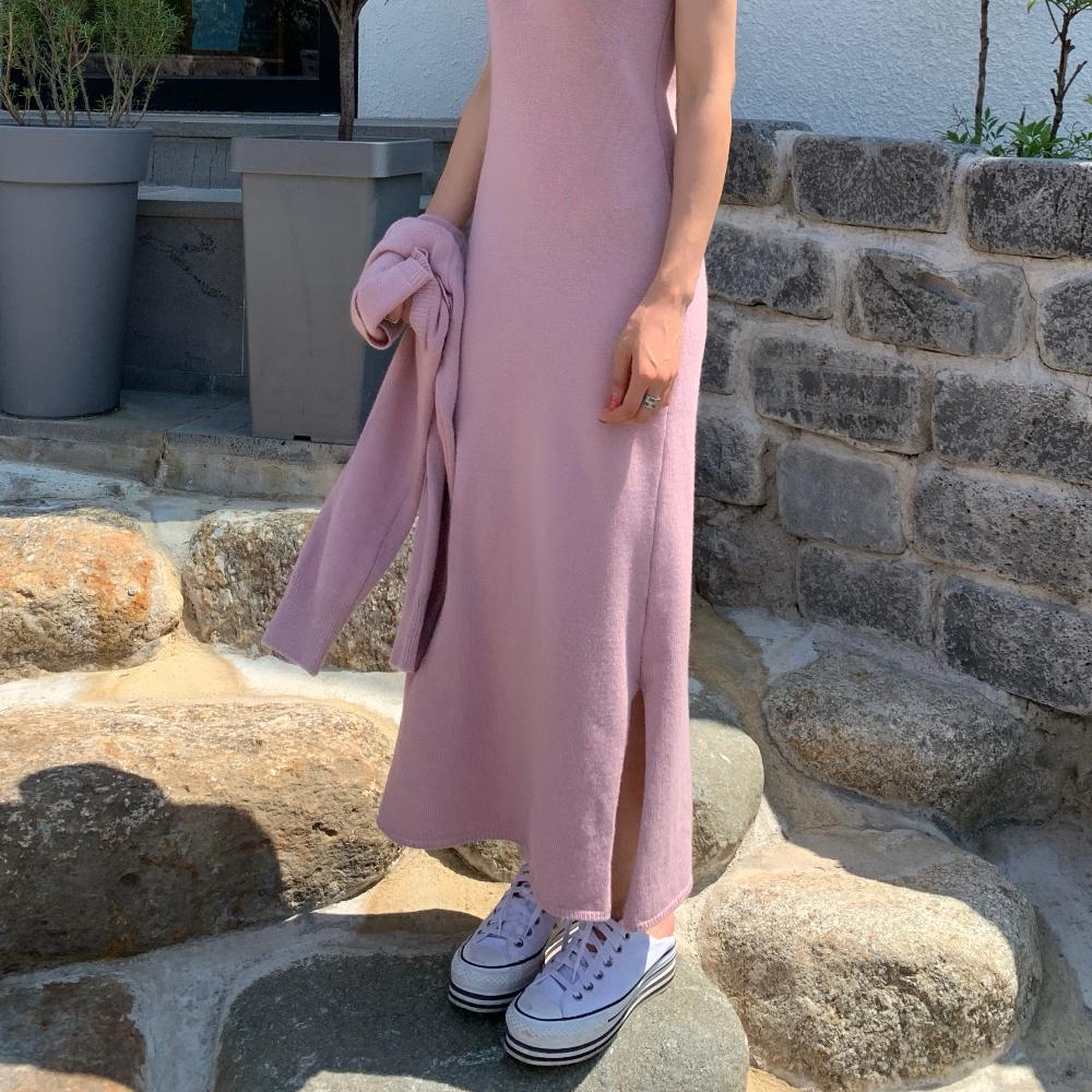 韓国 ファッション ワンピース 春 秋 冬 カジュアル PTXJ201  リブニット ノースリーブ 2点セット セクシー オルチャン シンプル 定番 セレカジの写真9枚目
