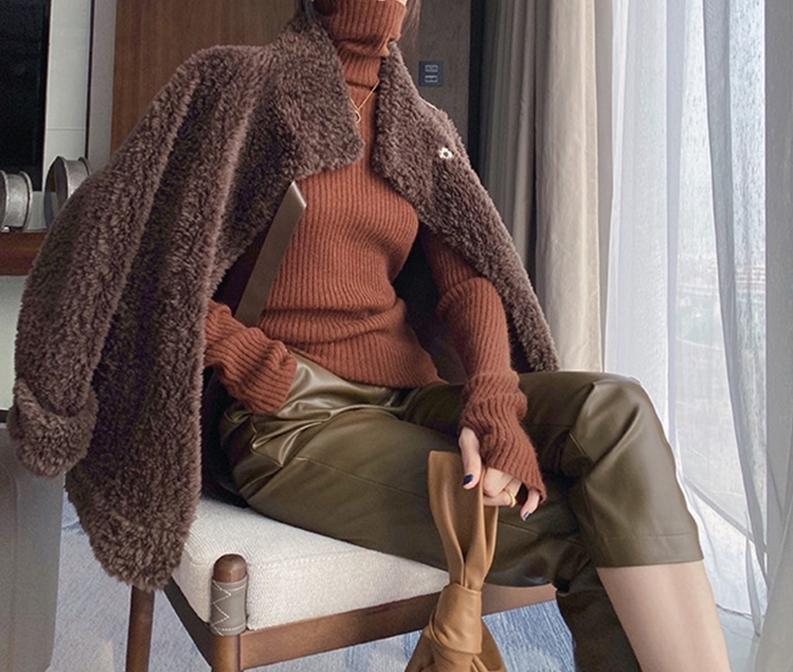 韓国 ファッション トップス ニット セーター 春 秋 冬 カジュアル PTXJ203  タイト目 指穴 萌え袖 タートル リブニット オルチャン シンプル 定番 セレカジの写真19枚目