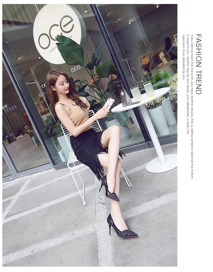 韓国 ファッション パンプス 春 夏 秋 冬 パーティー ブライダル PTXJ281  セパレートパンプス風 シースルー ハイヒール 二次会 セレブ きれいめの写真12枚目