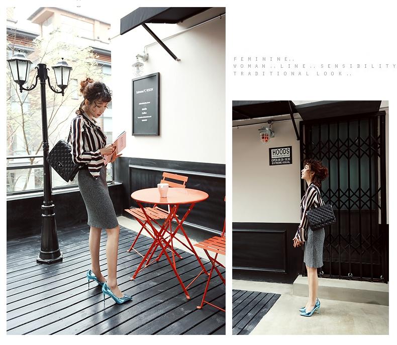 韓国 ファッション パンプス 春 夏 秋 冬 パーティー ブライダル PTXJ283  メタリック オルセーパンプス ゴージャス 二次会 セレブ きれいめの写真14枚目