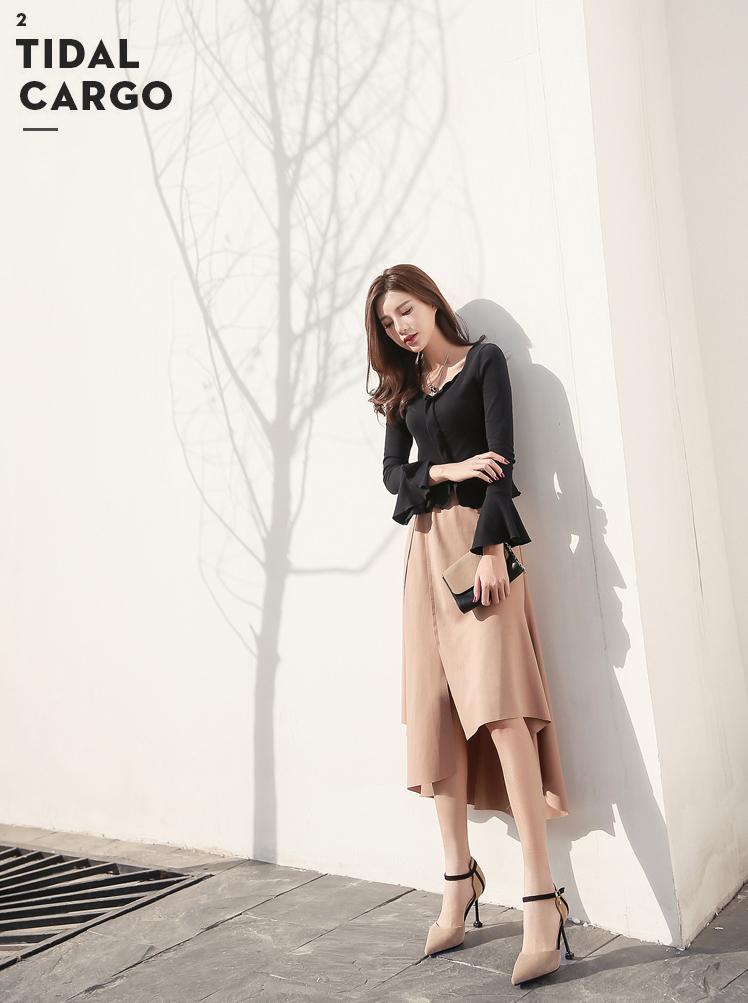 韓国 ファッション パンプス 春 夏 秋 冬 パーティー ブライダル PTXJ296  スエード調 ストラップ セパレート チャーム 二次会 セレブ きれいめの写真12枚目