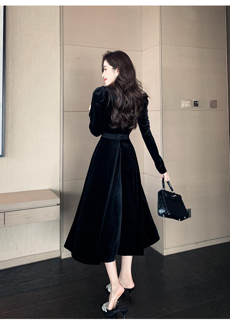 韓国 ファッション ワンピース パーティードレス ロング マキシ 春 秋 冬 パーティー ブライダル PTXJ359 結婚式 お呼ばれ ベルベット風 スカラップ デコルテ見せ 二次会 セレブ きれいめの写真9枚目