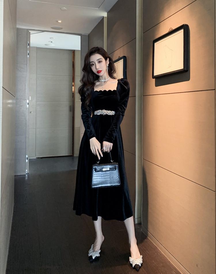 韓国 ファッション ワンピース パーティードレス ロング マキシ 春 秋 冬 パーティー ブライダル PTXJ359 結婚式 お呼ばれ ベルベット風 スカラップ デコルテ見せ 二次会 セレブ きれいめの写真11枚目