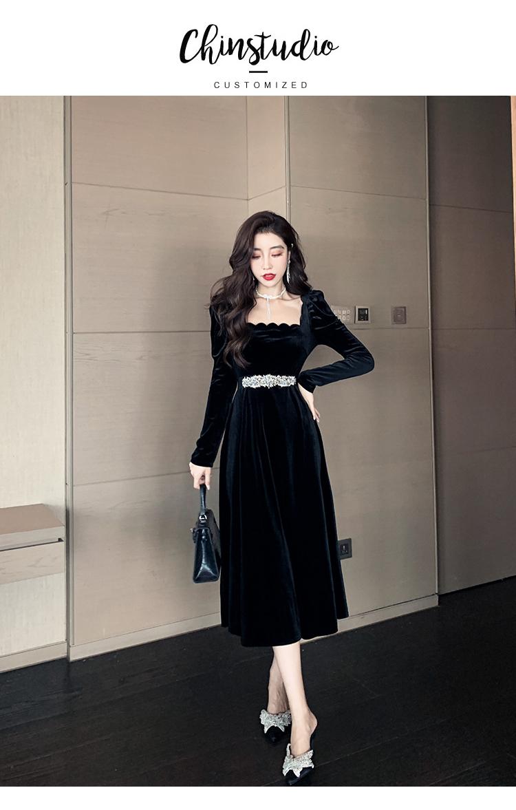 韓国 ファッション ワンピース パーティードレス ロング マキシ 春 秋 冬 パーティー ブライダル PTXJ359 結婚式 お呼ばれ ベルベット風 スカラップ デコルテ見せ 二次会 セレブ きれいめの写真14枚目