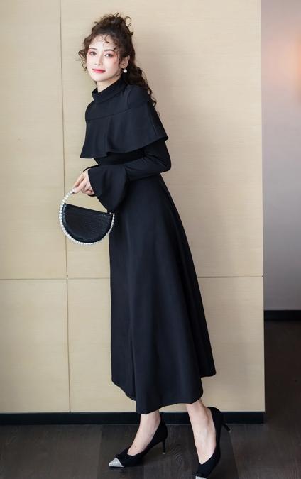 韓国 ファッション ワンピース パーティードレス ロング マキシ 春 秋 冬 パーティー ブライダル PTXJ399 結婚式 お呼ばれ フレアトップ マキシ丈 シンプル ハイ 二次会 セレブ きれいめの写真16枚目