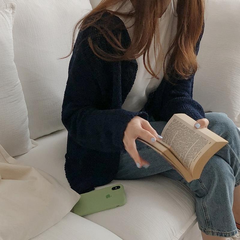 韓国 ファッション トップス ニット セーター 春 夏 秋 カジュアル PTXJ435  サマーニット カーディガン フロントボタン オルチャン シンプル 定番 セレカジの写真5枚目