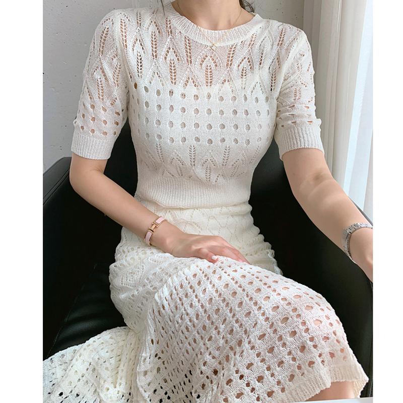 韓国 ファッション ワンピース 春 夏 秋 カジュアル PTXJ445  マーメイド 透かし編み ミモレ丈 エレガント オルチャン シンプル 定番 セレカジの写真2枚目
