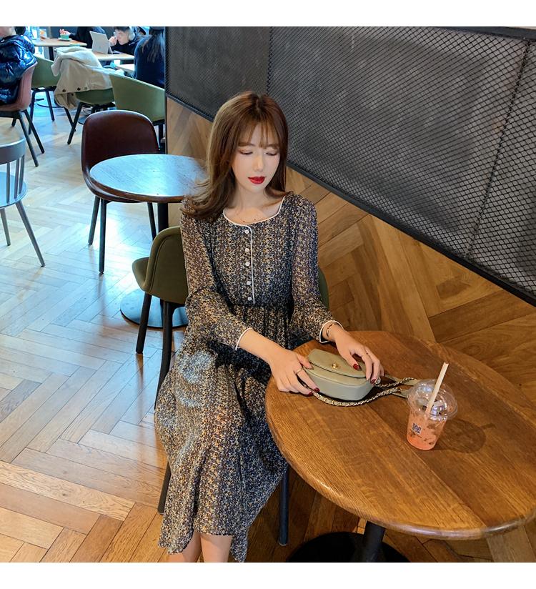 韓国 ファッション ワンピース 春 夏 秋 カジュアル PTXJ449  シアー 小花 パイピング ロング フェミニン オルチャン シンプル 定番 セレカジの写真9枚目